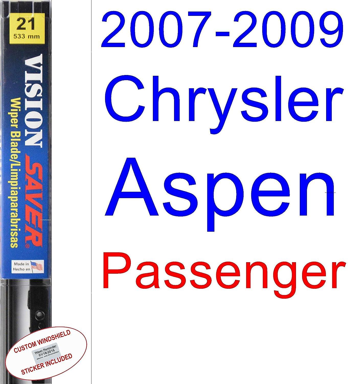 2007 - 2009 Chrysler Aspen - Juego de escobillas de repuesto para limpiaparabrisas (ahorro de productos de automoción-Vision Saver) (2008): Amazon.es: Coche ...