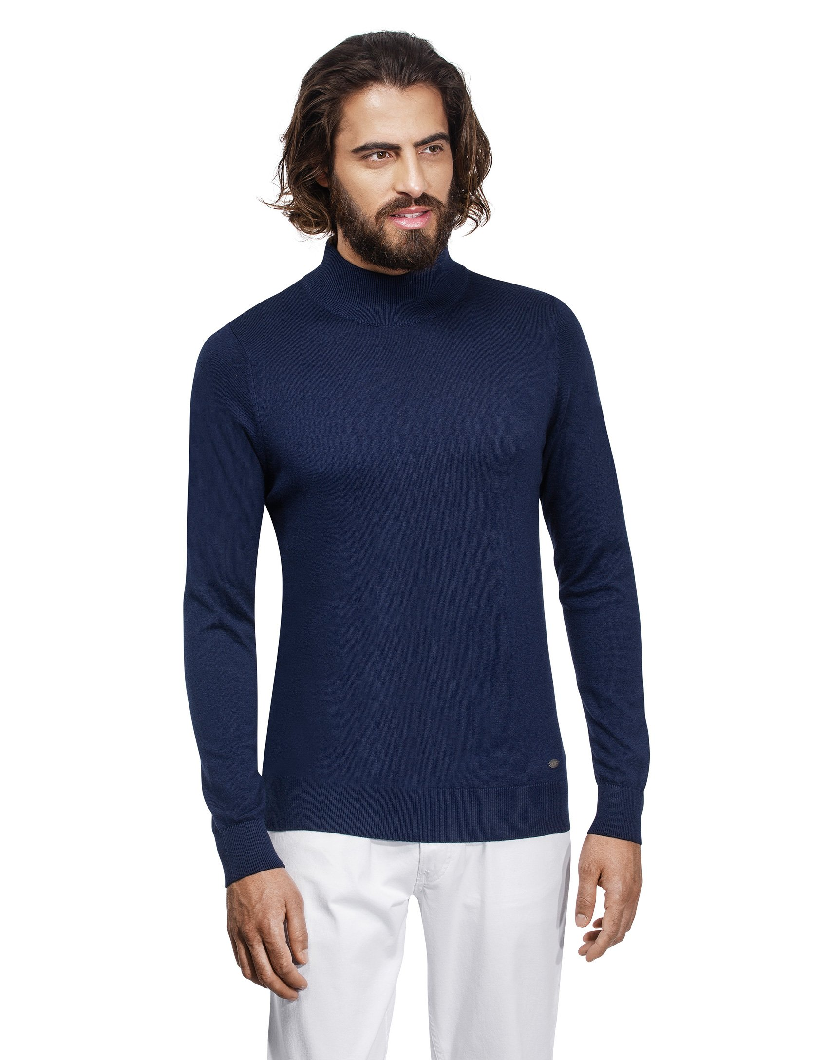 Vincenzo Boretti Men's Sweater Ribbed Turtle-Neck Slim-fit Dark Blue Small