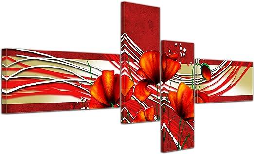 Cuadros en Lienzo - Arte abstracto amapola rojo - 140x65cm 4 partes - Listo tensa. Made in Germany!!!: Amazon.es: Hogar