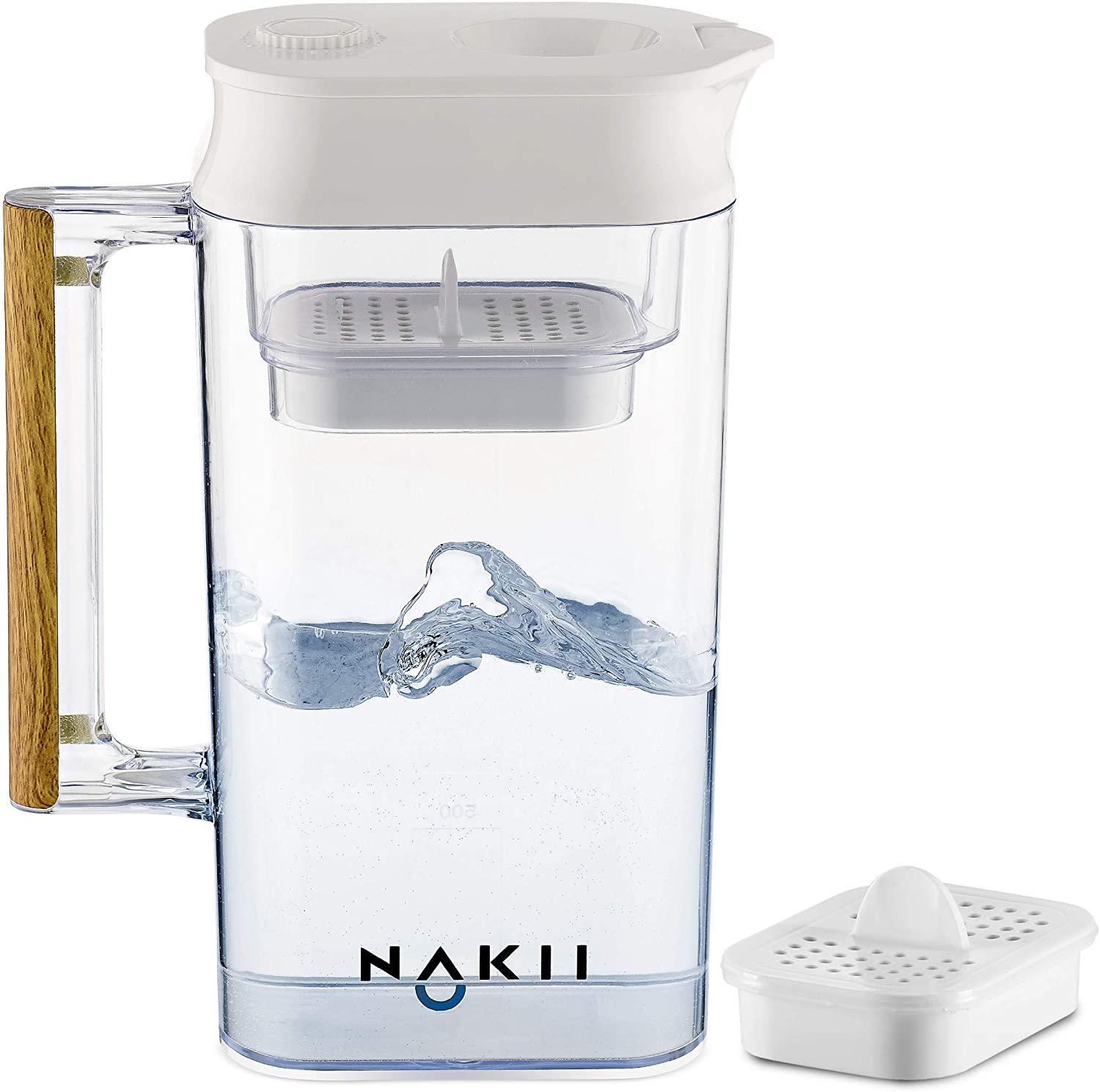 Nakii Water Filter Pitcher - Long Lasting (150 Gallons) | Supreme Fast Filtration and Purification Technology | Removes Chlorine, Metals & Sediments for Clean Tasting Drinking Water | WQA Certified: Kitchen & Dining