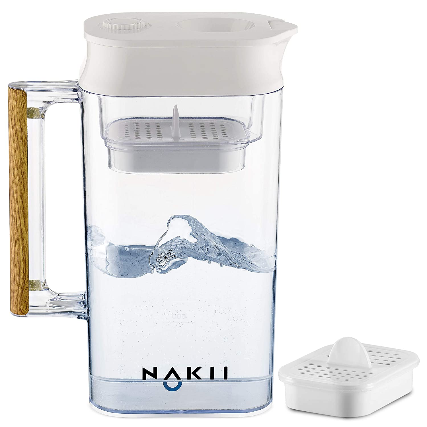 Nakii Water Filter Pitcher - Long Lasting (150 Gallons) | Supreme Fast Filtration and Purification Technology | Removes Chlorine, Metals & Sediments for Clean Tasting Drinking Water | WQA Certified