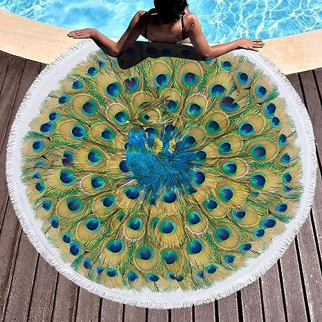 Plumas de pavo real Toalla de playa grande redondo microfibra toalla de playa playa manta Toalla