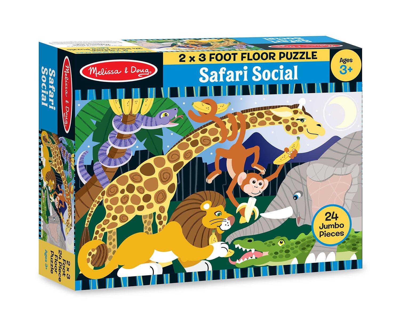 Amazoncom Melissa Doug Safari Social Jumbo Jigsaw Floor Puzzle - Melissa and doug floor puzzle