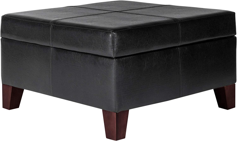 - Amazon.com: HomePop Faux Leather Square Storage Ottoman Coffee