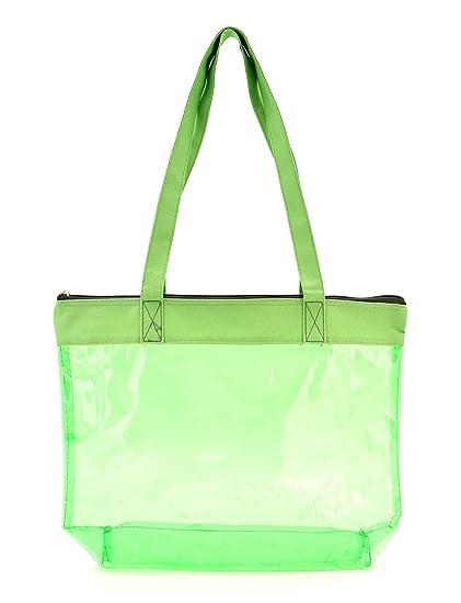 6a2f4597541e PVC Colorful Medium Size Clear Tote Bag Shoulder Bag Shopping Bag (Lime  Green