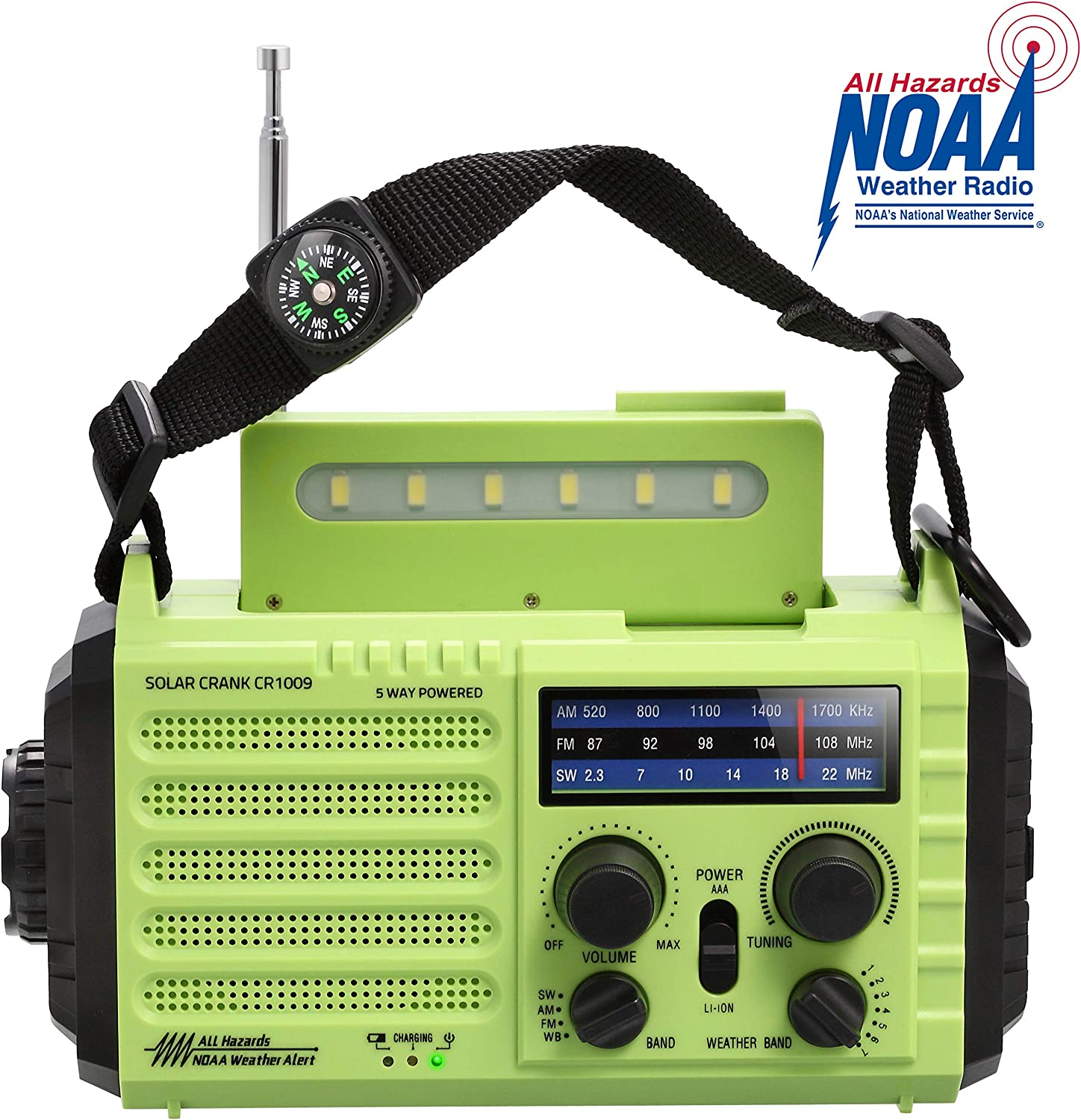 NOAA Emergency Weather Alert Radio & AM/FM/SW Broadcast Kit for Travelling, Dynamo Hand Crank/Solar Panel/Built-in Battery/AC Powered with Compass, SOS Alarm, LED Flashlight, Reading Lamp, USB Charger