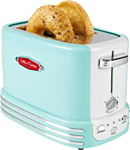 Nostalgia RTOS200AQ New and Improved Retro Wide 2-Slice Toaster Perfect For Bread, English Muffins, Bagels, 5 Browning Levels, With Crumb Tray & Cord Storage – Aqua