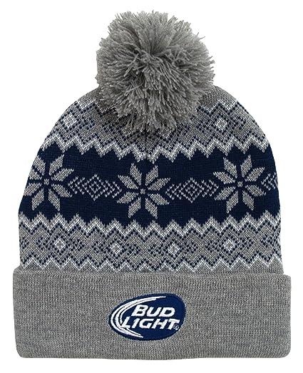 Budweiser Bud Light Logo Snowflake Adult Pom Cuffed Beanie Winter Knit Hat  Gray f01e8b743358
