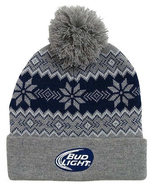 9c826421ad1 Budweiser Bud Light Logo Snowflake Adult Pom Cuffed Beanie Winter Knit Hat  Gray