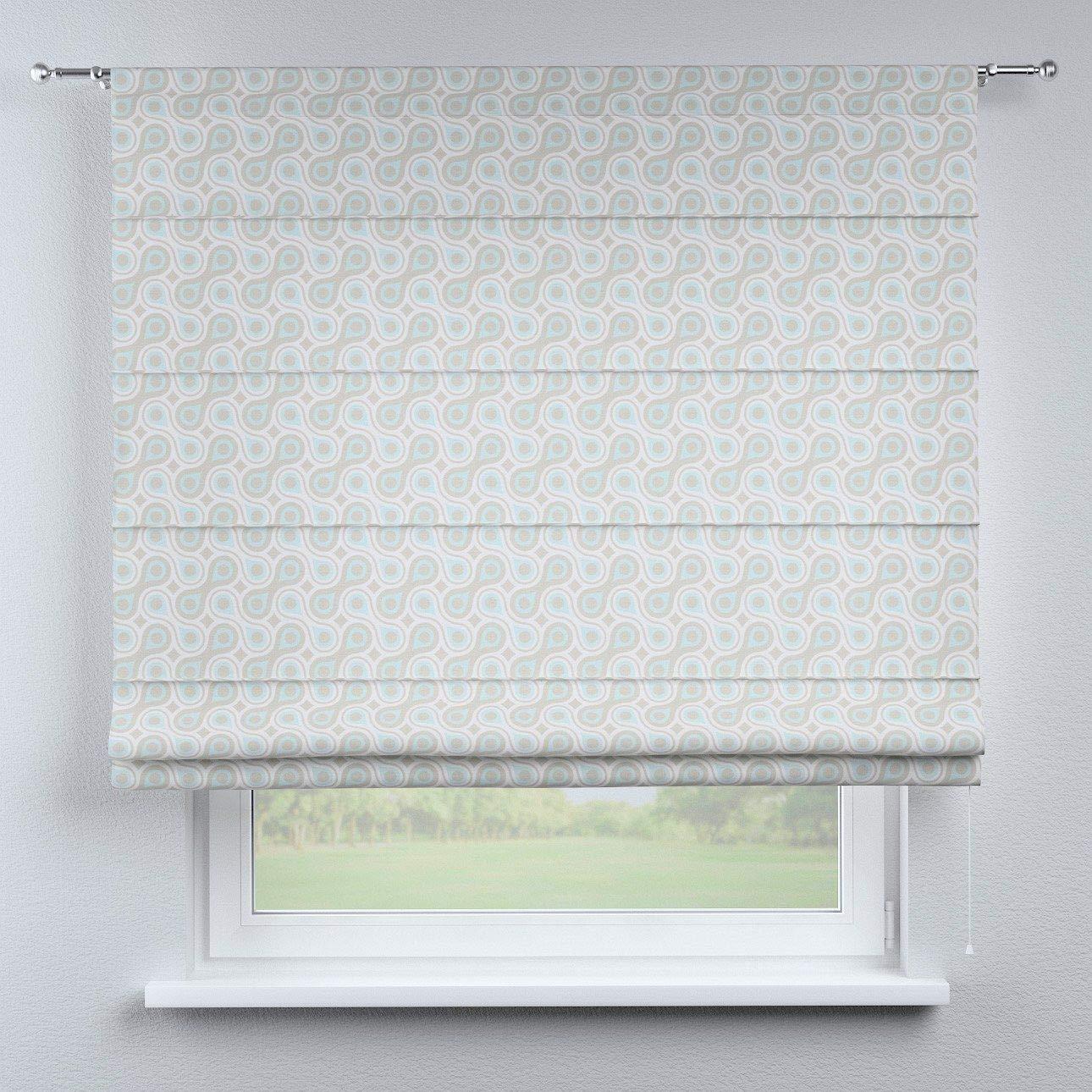 Dekoria Raffrollo Torino ohne Bohren Blickdicht Faltvorhang Raffgardine Wohnzimmer Schlafzimmer Kinderzimmer 130 × 170 cm blau Raffrollos auf Maß maßanfertigung möglich