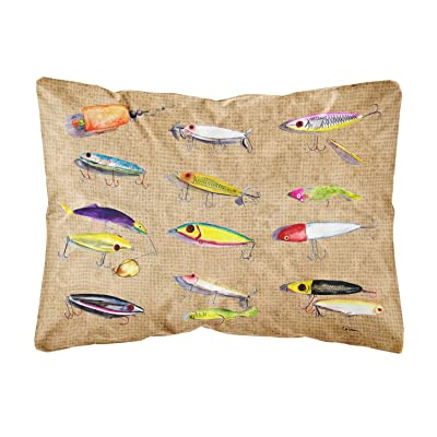 Caroline's Treasures 8796PW1216 Fishing Lures Canvas Fabric Decorative Pillow, 12H x16W, Multicolor : Garden & Outdoor