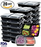 Meal Prep Containers 20 Pack 3 Compartment Food Storage Container with Lids-Microwave,Dishwasher Safe,Reusable-Portion Control Plates,21 Day Fix+20 Cutlery(36oz)