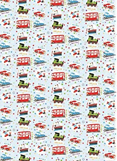2 Sheets Boys Bright Cars Buses Planes Wrapping Paper 1 Matching Gift Tag