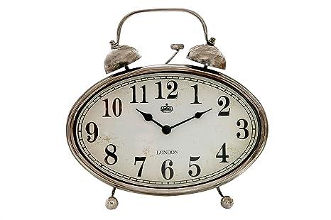 Sukima Decor Vintage Reloj Sobremesa, Metal, Plateado, 28x8x29 cm