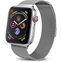 Haotop Replacement Bands Compatible for Apple Watch,Metal Mesh Magnetic Lock Stainless Steel Strap Bracelet Series 4/3/2/1 (42MM/44MM, Silver)