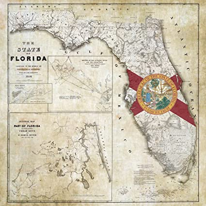 Antique Map Of Florida.Amazon Com Antique 1846 State Flag Map Of Florida Including Detail