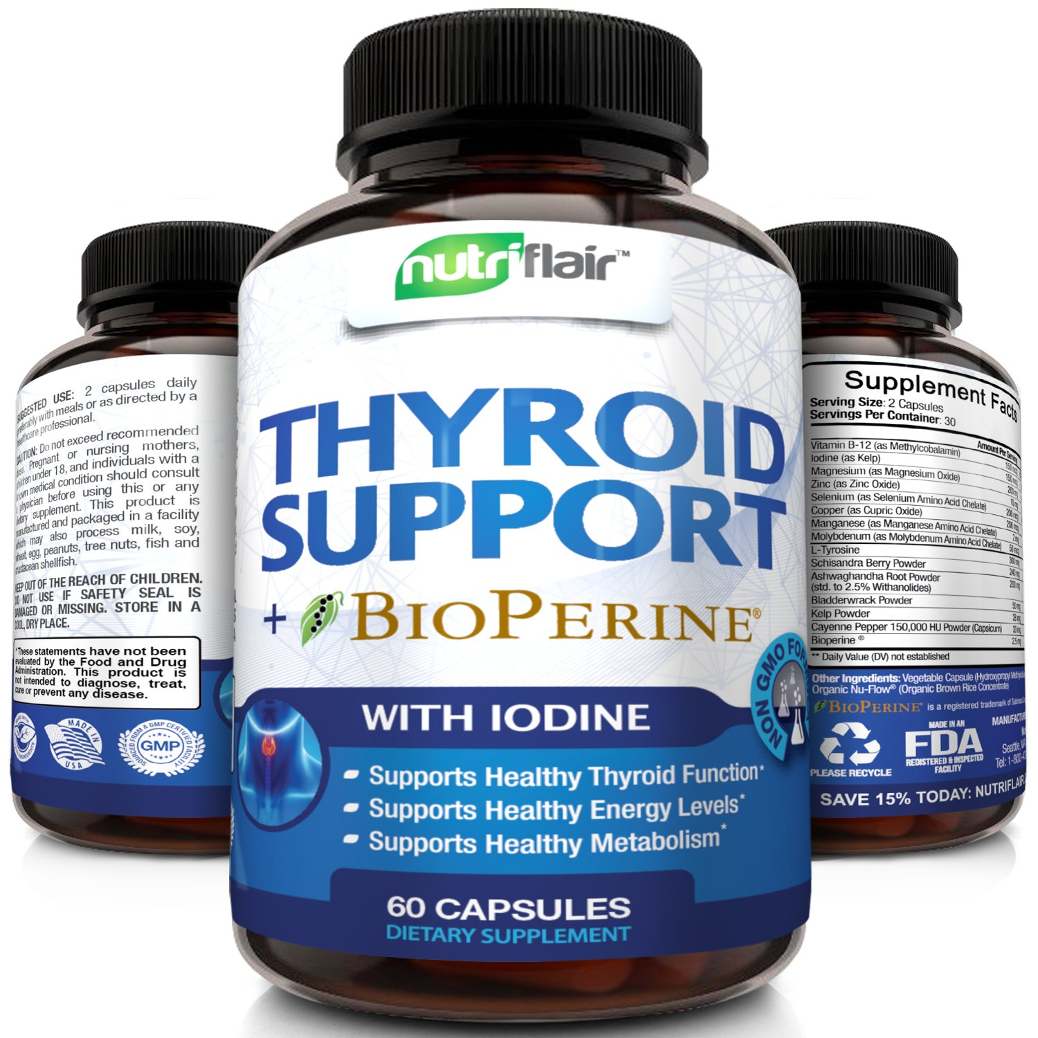 Thyroid Support Complex with Iodine + BioPerine Black Pepper - Vegetarian Capsules Natural Supplement - Energy & Focus Formula, Boosts Brain Function & Metabolism, Concentration, with B12, Ashwagandha by NutriFlair