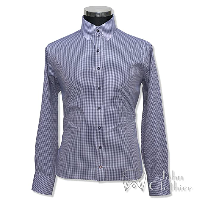 f923f731cb446 WhitePilotShirts Mens Tab Collar Navy Blue Gingham Checks Shirt 100 ...