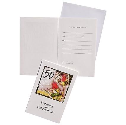 10 Einladungskarten Klappkarten Mit Innentext Goldene Hochzeit
