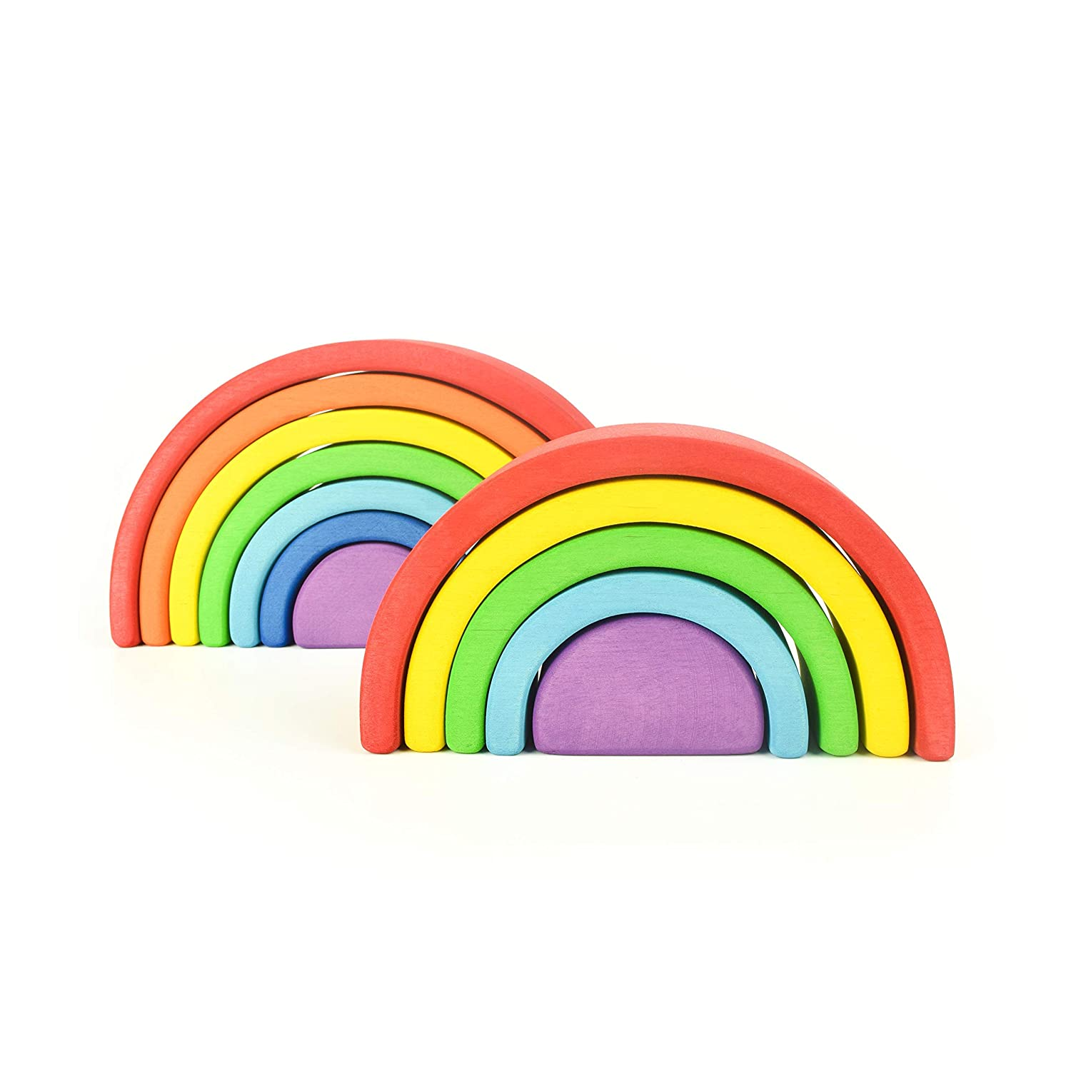 Montessori WOODEN RAINBOW STACKER Waldorf Stacking Game Learning Toy Creative Educational Toys for Kids Baby Toddlers Nesting Puzzle Building Blocks Stacking /& Nesting Rainbow Tunnel Stacker Toy
