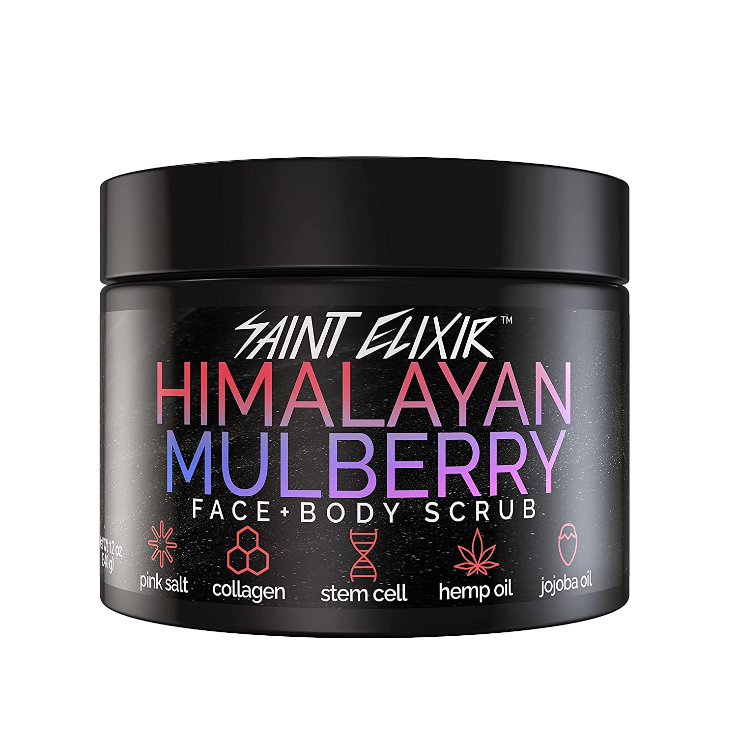 SAINT ELIXIR Himalayan Mulberry Salt Scrub with Collagen, Apple Stem Cell, Hemp Seed Oil, Jojoba Oil for Face and Body Natural Hydrating Detoxifying Exfoliator Cleansing Gender Neutral Acne Blackheads Dark Spots Wrinkles Pore Size 12 oz