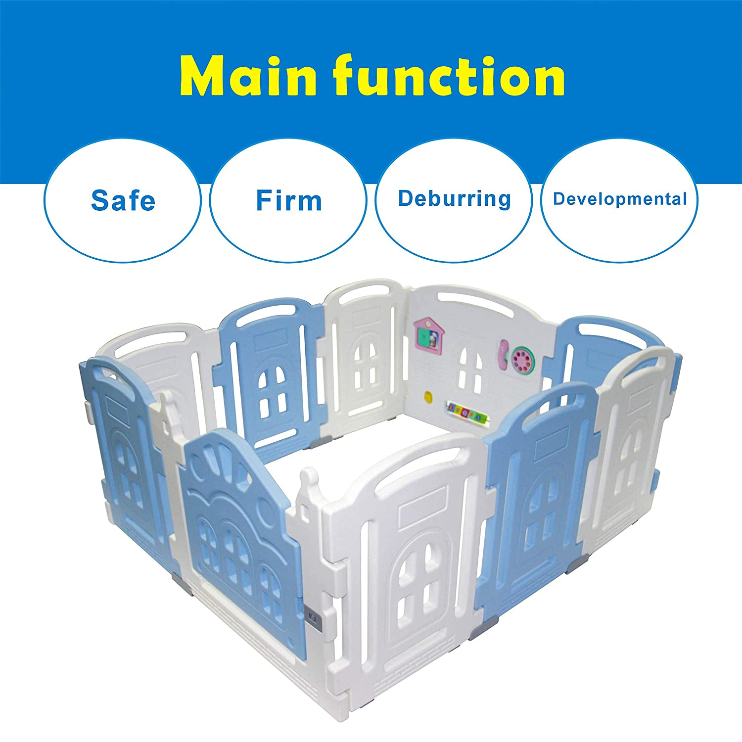 Baby Playpen Kids Activity Centre New Style Safety Play Yard Home Indoor Outdoor with 12 Panel (Cookie House)