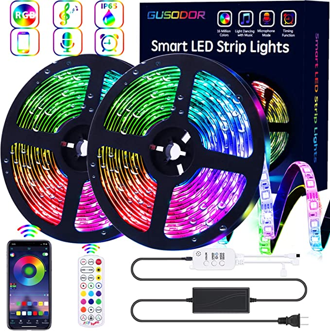 GUSODOR LED Strip Lights 32.8ft Waterproof Tape Light 300 LEDs - Music Sync, Color Changing - Smart App Controlled