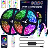GUSODOR LED Strip Lights RGB Strips 32.8ft Tape Light 300 LEDs SMD5050 Waterproof Music Sync Color Changing + Bluetooth…