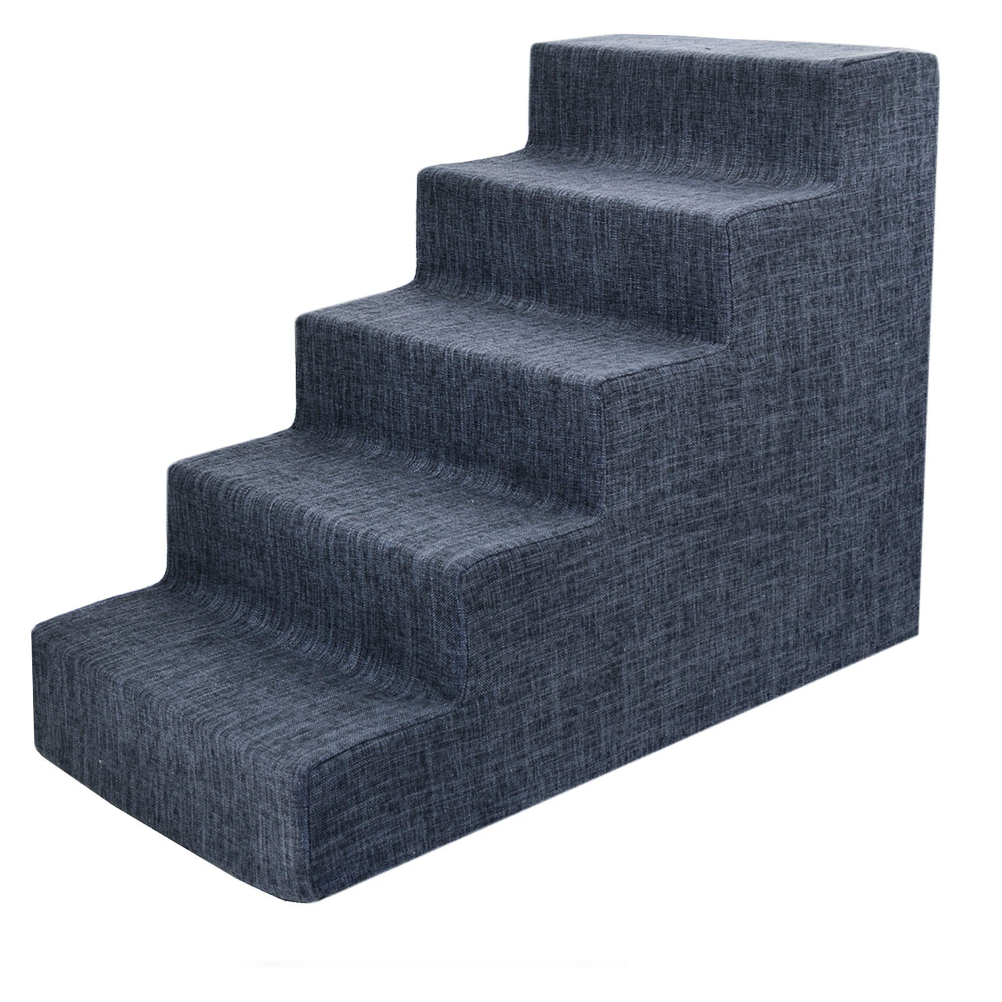 USA Made Pet Steps/Stairs with CertiPUR-US Certified Foam for Dogs & Cats by Best Pet Supplies - Dark Gray Linen, 5-Step (H: 22.5'') by Best Pet Supplies, Inc.