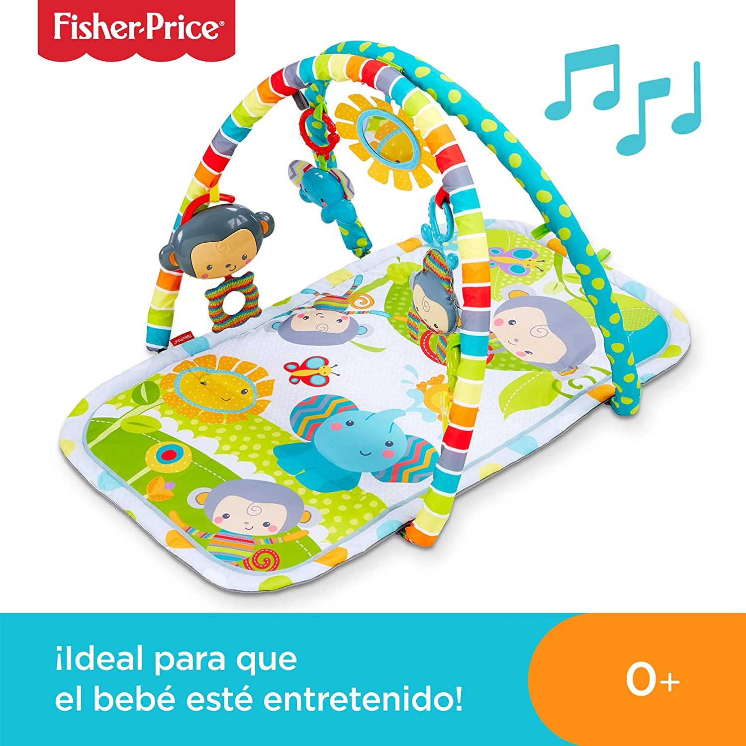 Fisher-Price Gimnasio musical monitos divertidos, manta de juego para bebé (Mattel CLJ42): Amazon.es: Bebé