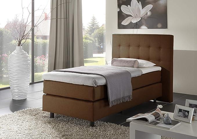 Home Collect ion24 Cama con somier (180 x 200 cm, con núcleo de muelles Bonell Colchón Topper en H3 Negro Hotel Cama de Matrimonio tapizada Cama Entrega ...