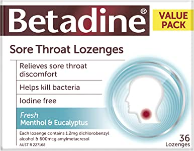 Betadine Sore Throat Lozenges - Relieves sore throat discomfort - Helps kill bacteria - Fast acting, 36 Pack