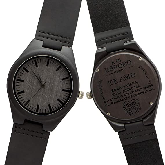 Relojes De Madera Hombre,KENON Reloj de Cuero Natural de Madera Grabado Palabra española Reloj