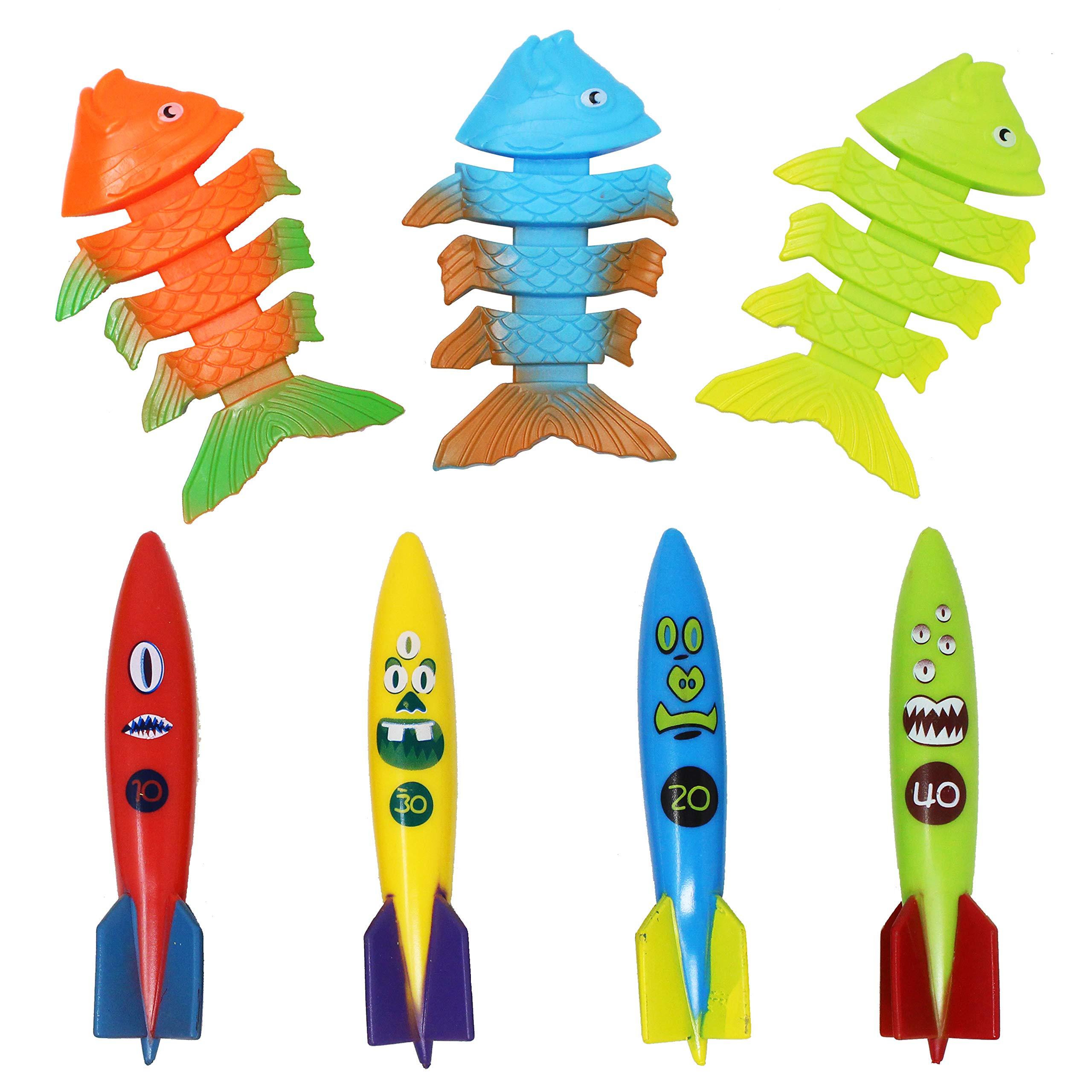 JOYIN 30 Pcs Diving Pool Toys Jumbo Set Includes (5) Diving Sticks, (6) Diving Rings, (5) Pirate Treasures, (4) Toypedo Bandits, (3) Diving Toy Balls, (3) Fish Toys, (4) Stringy Octopus by JOYIN (Image #7)