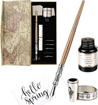 Hethrone Calligraphy Pen Set Fountain Dip Pen and Ink Writing Pen with 11 Nibs and Black Ink Calligraphy Set for Beginners/…