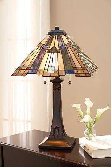 Quoizel TFT16191A1VA, Inglenook Small Glass Table Lamp, 2 Light, 130 Total  Watts,
