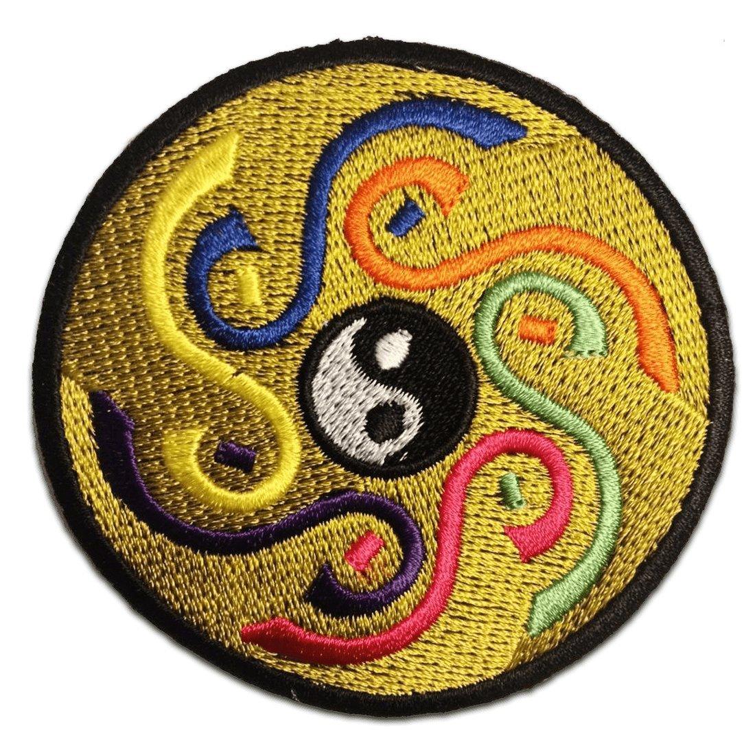 /Écusson brod/é Ecussons Imprim/és Ecussons Thermocollants Broderie Sur Vetement Ecusson Hippie Yoga Om Yin Yang Symbol Spirituel M/éditation Hindoue Inner peace Patch  7,7 x 7,7 cm