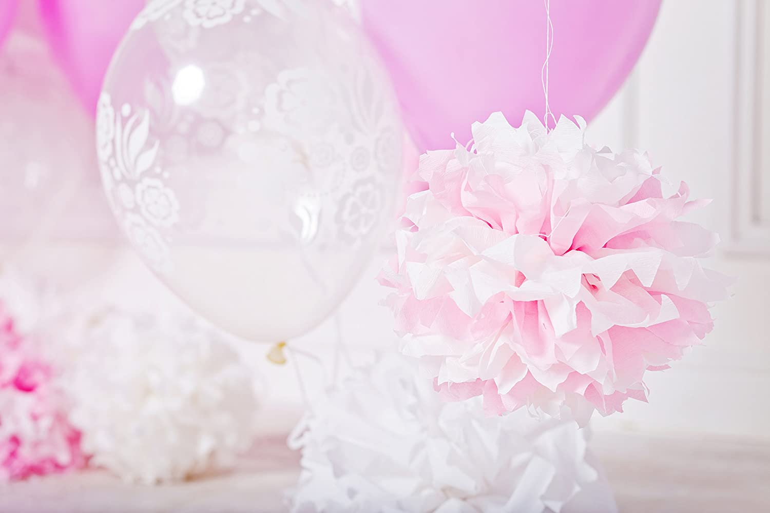 Tissue Paper Pom Poms - 5 pcs Ohuhu Paper Flowers, Decorations ...