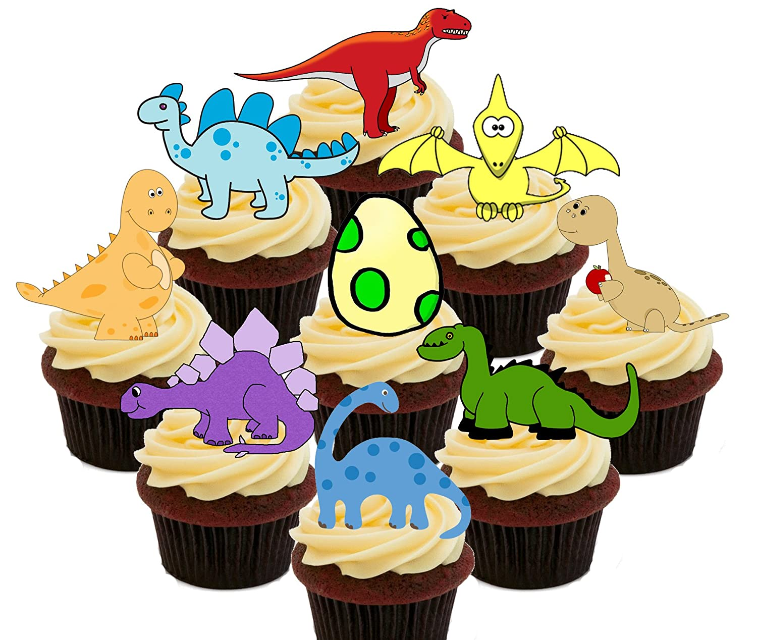 Dinosaurs Party Pack, Colourful Edible Cupcake Toppers - Stand-up ...