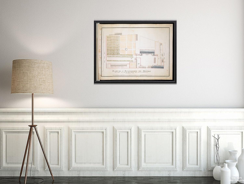 Map canadaquebecquébec plan de lintendance de quebec cette maison sert aussi de palais evintage fine art reproductionready to frame amazon ca