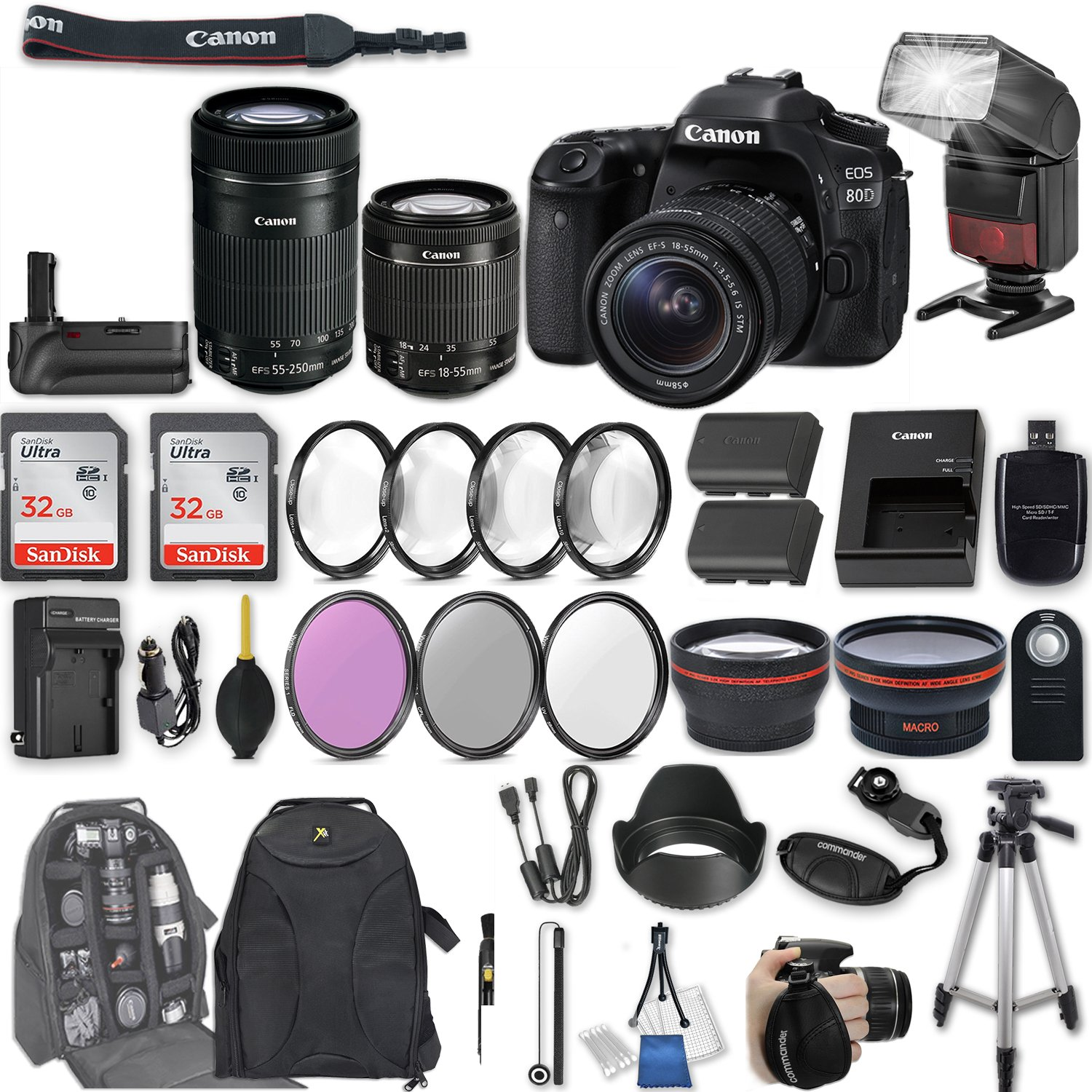 Canon EOS 80D DSLR Camera with EF-S 18-55mm f/3.5-5.6 IS STM Lens + EF-S 55-250mm f/4-5.6 IS STM Lens + 2Pcs 32GB Sandisk SD Memory + Automatic Flash + Battery Grip + Filter & Macro Kits + More by Canon