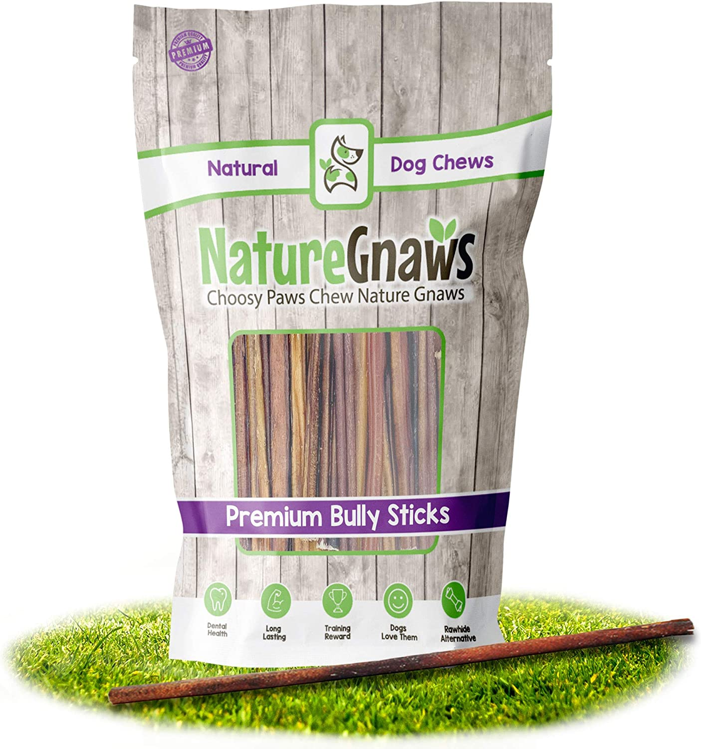 Nature Gnaws Super Skinny Bully Sticks for Very Small Dogs - Premium Natural Beef Bones - Long Lasting Dog Chew Treats for Toy Breeds - Rawhide Free - 6 Inch