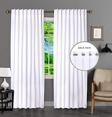 Tab Top Curtains, Farmhouse Cotton Curtains, Curtain 2 Panel Set,Cotton Duck Curtains 50×108 White Curtains, Reverse Window Panels, Curtain Drapes Panels, Bedroom Curtains, Set of 2