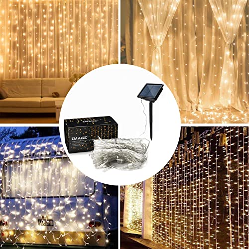 IMAGE Solar Curtain Lights 8 Modes 9.8×9.8 Feet Solar String Lights for Wedding Party Home Decoration Backdrops Full Waterproof UL Safety Standard Warm White