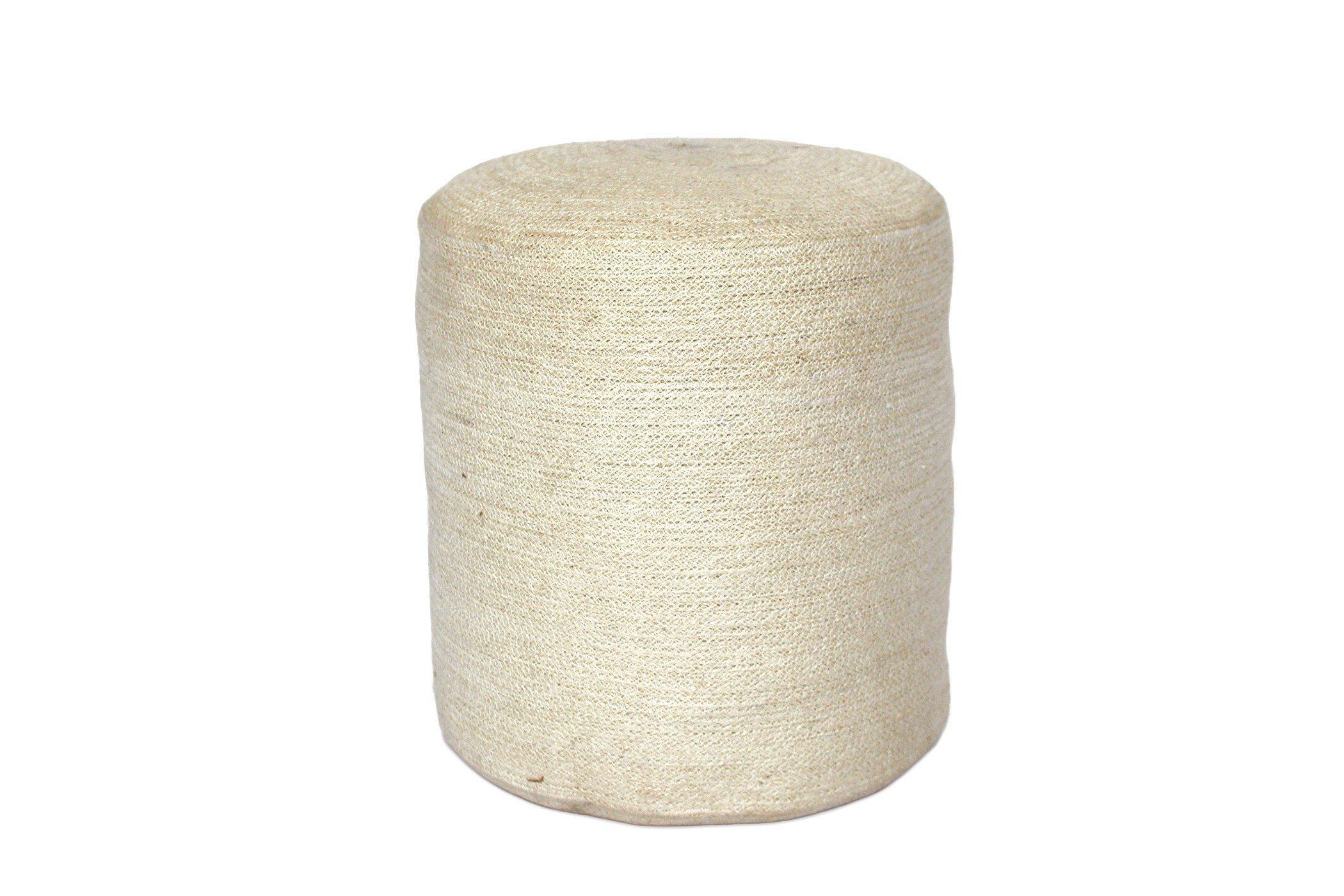 Saffron Trading Company Jute Round Pouf - Bleached White by Saffron Trading Company