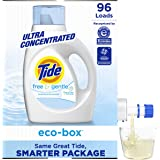 Tide Free & Gentle Laundry Detergent Liquid Eco-Box, (Unscented Laundry Soap, Hypoallergenic for Sensitive Skin), Concentrate