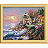 """eGoodn Stamped Cross Stitch Kit Accurate Pre-printed Pattern - Scenery Seaside Lighthouse 11CT 3 Strands 22""""X17.7"""", Cross-Stitching Needlework DIY Embroidery Without Frame"""