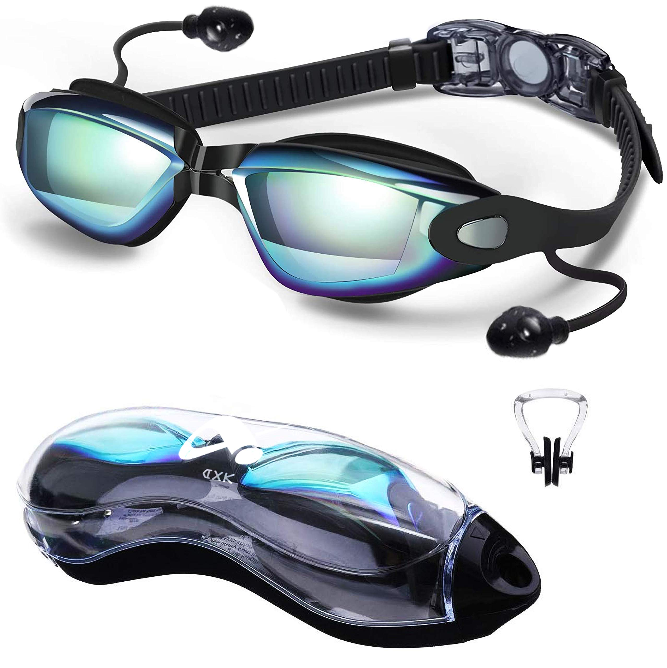 DXK Swimming Goggles, Mirrored Swim Goggles No Leaking Anti Fog UV Protection 180 Degree Vision with Free Protection Case and Soft Silicone Nose Bridgefor Adult Men Women Youth