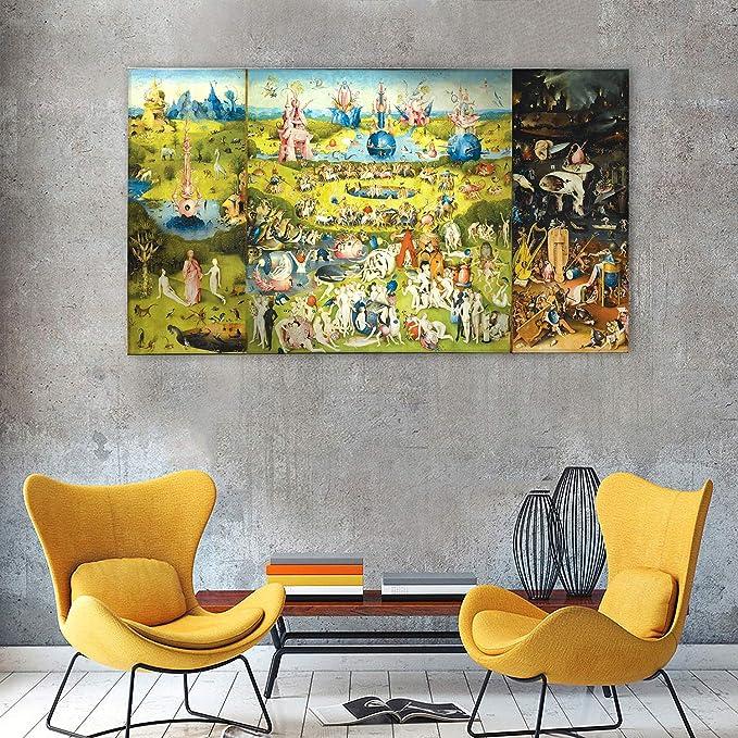 Cuadro - Hieronymus Bosch - El jardin de las delicias - Impresión en vidrio acrílico Plexiglás - listo para a colgar - Pinturas modernas para decoración - dormitorio - Varios Tamaños - 140x80 cm: Amazon.es: Hogar
