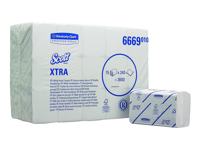 Scott 6669 Xtra Interfolded Hand Towels, White, One Ply Sheets, 15 Packs x 240 Kimberly-Clark Professional (EU)